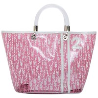 CHRISTIAN DIOR Tote Bag in Transparent Pink Monogram PVC