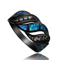 Awesome Bold Black Gold Clustered with Blue Fire Opal and White Sapphire