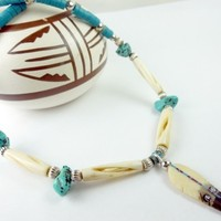 Kingman Turquoise and Bone Beaded Silver Feather Necklace