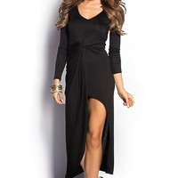 Gillian Black Twist Front Casual Long Dress with Sleeves