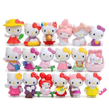 18 pc/set Hello Kitty Action Figure Cartoon Toys girls set Anime cute Home Decor Christmas party supply for Children Kid Figures