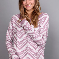 Cozy Aztec Sweater - Mauve