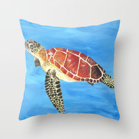 Sea Turtle Throw Pillow by Always Add Color