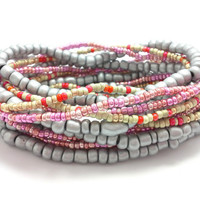 3 Stretch seed bead wrap bracelets, stacking, beaded, boho anklet, bohemian, stretchy stackable multi strand, grey silver, pink gold red