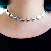 Silver Star Choker / 90s Choker / Cute Kawaii Choker Necklace