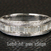 Baguette Diamond Wedding Band Engagement Ring 14K White Gold 1.28CT Channel