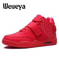 Weweya Men Sport Sneakers Basketball Boots Red White Men Sport Trainers High Top Basketball Shoes Cushioning Athletic Zapatillas
