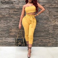 Sedrinuo Fashion off the shoulder tops for women 2018 crop tops women T-shirts sexy off shoulder crop tops