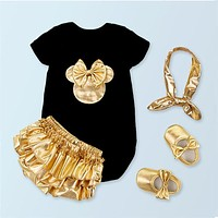 2018 Baby Girl Clothes Black Cotton Puff Sleeve Rompers + Golden Ruffle Bloomers Shorts +Shoes +Headband Infant Newborn Clothes