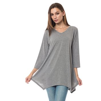 Loose Fit 3/4 Sleeve Handkerchief Hem Tunic Top (CLEARANCE)