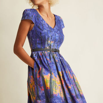 Frondescent Fete A-Line Dress in Dusk Thicket