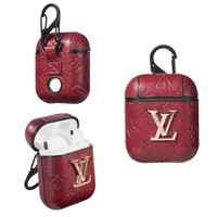 RED LV Louis Vuitton AirPods Case Cover Bluetooth Wireless Earphone Protector
