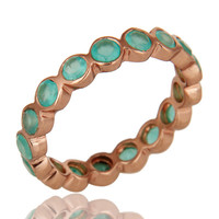 14K Rose Plated Sterling Silver Dyed Green Chalcedony Round Eternity Ring