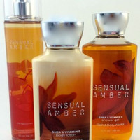 New Bath & Body Works Gift Set Sensual Amber With Gift Bag And Ribbon!