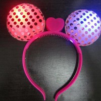 5pcs/lot Party Costume LED Minnie Round Ears Glowing Headwear Birthday Festival Cheering Flashing Headband For Kid's Toys Favor