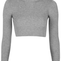 PETITE Funnel Neck Ribbed Crop Top - Grey