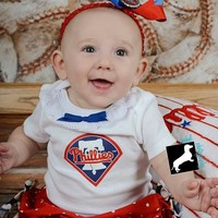 Girls Philadelphia Phillies Baseball Outfit, Baby Girls, Toddlers Phillies Outfit, Coming Home Outfit, Baby Shower Gift,
