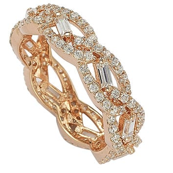Sterling Silver Rose Gold Plated Micropave Cubic Zirconia Ring CZ Weave Design