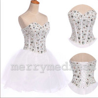 Bead Sweetheart Strapless Empired Mini Celebrity Dress, Short Organza Formal Evening Party Prom Dress New Homecoming Dress