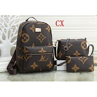 """Louis Vutitton LV"" Casual Fashion Logo Print Backpack Large Capacity Travel Double Shoulder Bag Set Three piece suit"