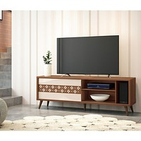 """63"""" Wooden TV Stand with 3 Open Compartments, Brown By The Urban Port"""