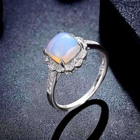 ON SALE - Cabochon White Opal Sterling Silver Ring