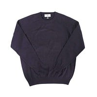 Front Nine Cotton Crew Neck Sweater in Navy by Country Club Prep