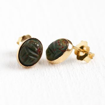 Scarab Beetle Earrings - Retro Era 14k Rosy Yellow Gold Genuine Bloodstone Stud Posts - Vintage 1960s Carved Egyptian Bug Gems Fine Jewelry