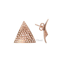 Hand Cut Micron Rose Gold Plated 925 Sterling Silver Big Stud Earring Earring - #1679