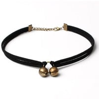 Casual Double Bells Velvet Choker Necklace
