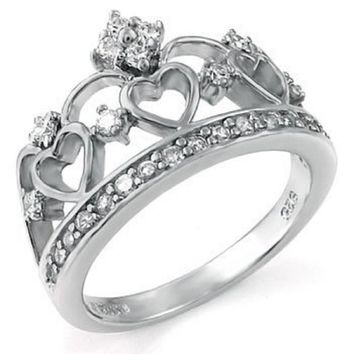 .925 Sterling Silver Heart Crown Cubic Zirconia Band Ring