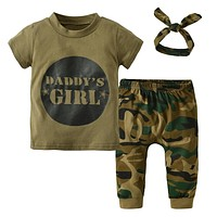 3Pcs Summer Newborn Toddler Army Green Baby Boys Girls Clothes Letter T-shirt Tops Camouflage Pants+Headband Infant Outfits Set