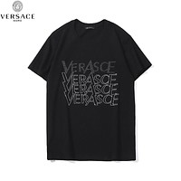 Versace Fashion New Diamond Letter Women Men Top T-Shirt Black