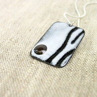 Enamel pendant black and white gift for him men artisan winter fashion by Alery