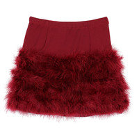 Wine Red Feather Mini Skirt