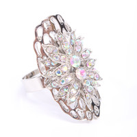 Silver Iridescent Rhinestone Oval Shape Cocktail Ring