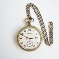 Vintage Pocket Watch MOLNIJA Wolfs in the somber Russian Forest