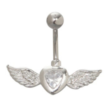 Winged Gem Heart Curved Navel Barbell