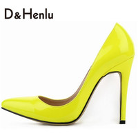 {D&H}Forever Classic 11CM High Heels Pumps For Women, Lady's Pointed Toe Thin Heels Shoes,Black/Apricot/Red,Size35-42,F.S.