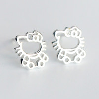 Lovely kitten 925 sterling silver earrings,a perfect gift