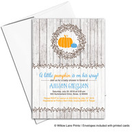 Fall baby shower invitations boy | a little pumpkin baby shower invites | printable or printed - WLP00719