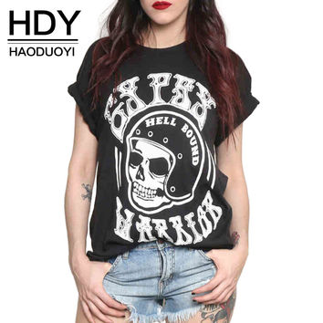 Summer New Fashion Contracted Personality Skull Print Short sleeve Tops Street Style Women T-shirt