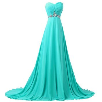Grace Karin Turquoise Evening Dresses Formal Evening Gowns Chiffon Party Dress Long Prom Dresses for Wedding Guests 6290