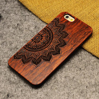Retro Flower Nature Wood/Wooden Cover Case for Apple iPhone 5 5s SE 6 6s 6 Plus 6s Plus