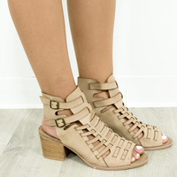 Tulip Fields Taupe Strappy Peep Toe