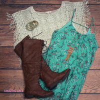 Buena Vista Natural Crochet Lace Top