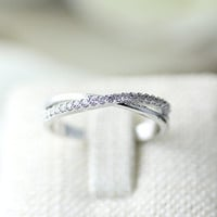 Twist Knot Crystal Ring Criss Cross Infinity Jewelry Wedding Bridesmaid Gold Silver gift idea
