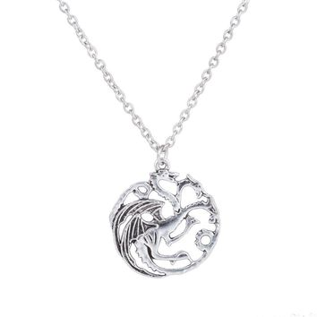 2018 new fashion Valentine's Day Gift The Song Of Ice And Fire Game Of Thrones Daenerys Targaryen Dragon Badge  Chain Necklace