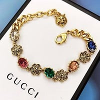 GUCCI Fashion New Multicolor Diamond Personality Bracelet Women
