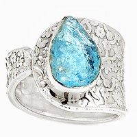 Aquamarine Rough Sterling Silver Vine Pattern Adjustable Ring